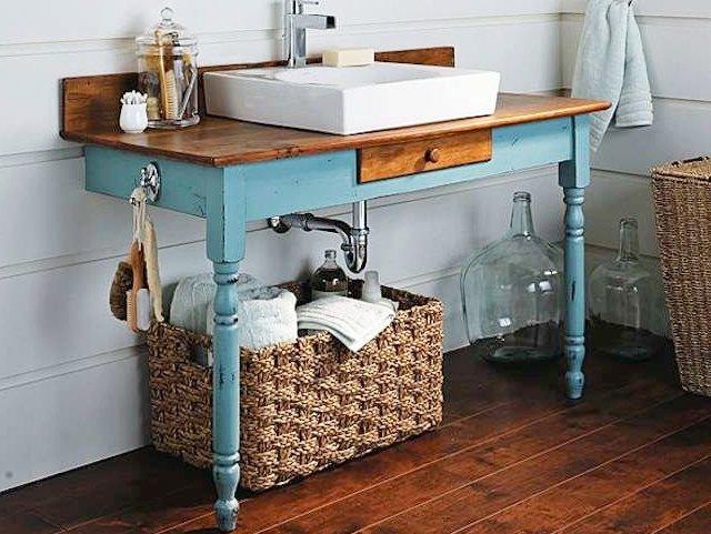 Vanity Ideas - Transformed Leg Vanity with Wooden Basket