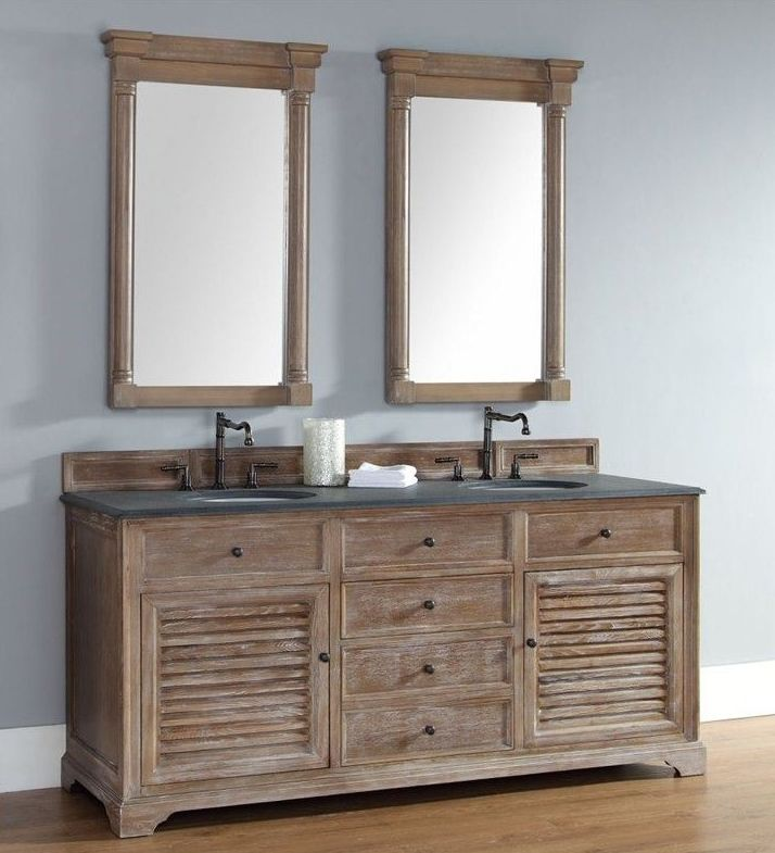 Wooden Bathroom Vanity with two Mirrors