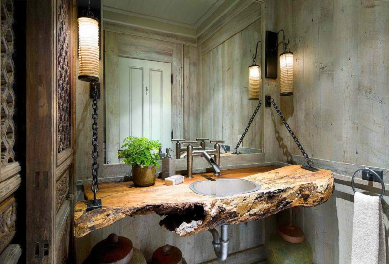Nature Bathroom Vanity with Chain Design