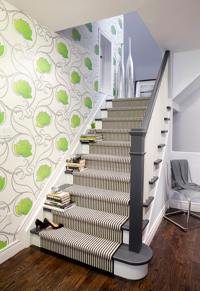Black and White Stair with Wallpaper
